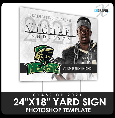 "Class of 2020 - Senior Strong 24""x18"" Yard Sign Template-Photoshop Template - PSMGraphix"