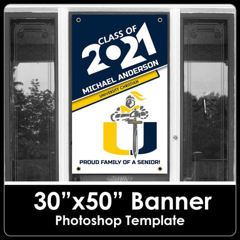 "NEW! Class of 2021 - School Logo- 30""x50"" Banner Template-Photoshop Template - PSMGraphix"