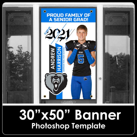 "NEW! Class of 2021 - Photo Cutout Style - 30""x50"" Banner Template-Photoshop Template - PSMGraphix"