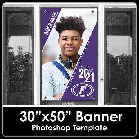 "NEW! Class of 2021 - Drop In Photo Style - 30""x50"" Banner Template-Photoshop Template - PSMGraphix"