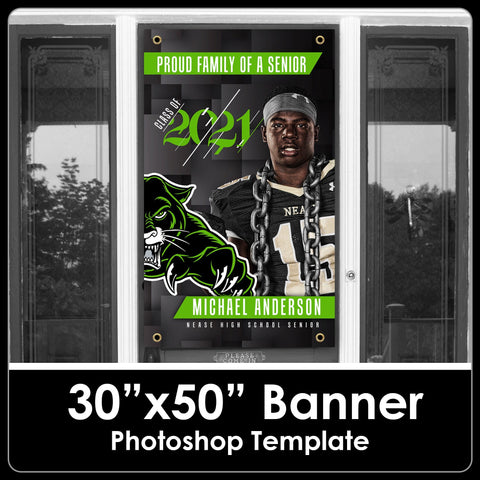 "NEW! Class of 2021 - Photo Cutout Style V2 - 30""x50"" Banner Template-Photoshop Template - PSMGraphix"