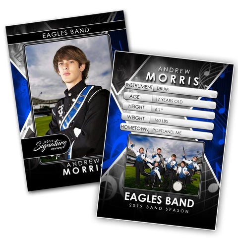 Signature Player - Band- V2 - Drop-In Trading Card Template Downloadable Template Photo Solutions PSMGraphix