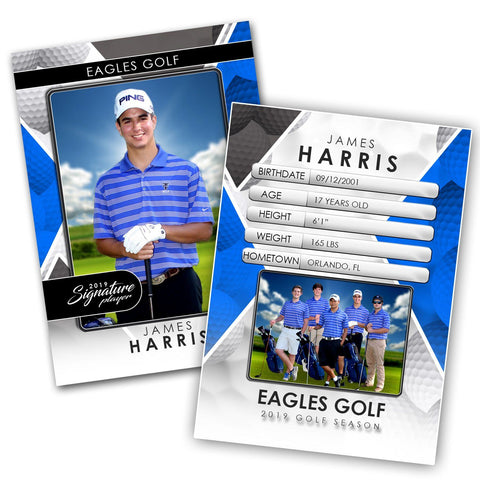Signature Player - Golf - V2 - Drop-In Trading Card Template-Photoshop Template - Photo Solutions