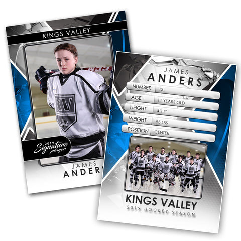 Signature Player - Hockey - V2 - Drop-In Trading Card Template Downloadable Template Photo Solutions PSMGraphix