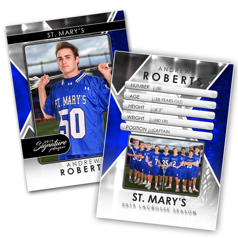 Signature Player - Lacrosse - V2 - Drop-In Trading Card Template-Photoshop Template - Photo Solutions