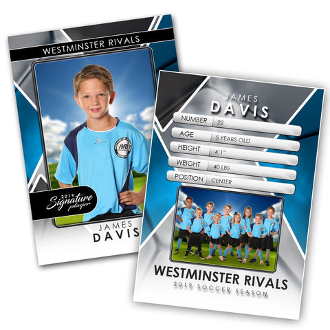 Signature Player - Soccer - V2 - Drop-In Trading Card Template-Photoshop Template - Photo Solutions