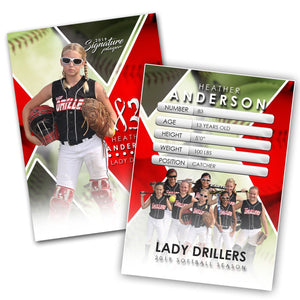 Signature Player - Softball - V2 - Extraction Trading Card Template-Photoshop Template - Photo Solutions