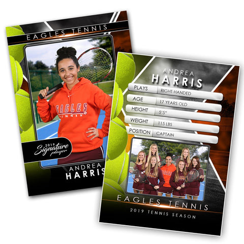 Signature Player - Tennis - V2 - Drop-In Trading Card Template Downloadable Template Photo Solutions PSMGraphix