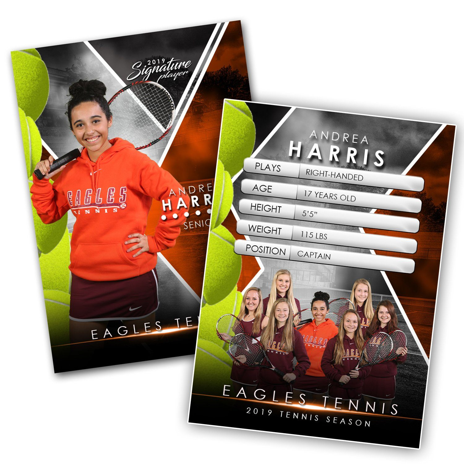 Signature Player - Tennis - V2 - Extraction Trading Card Template-Photoshop Template - Photo Solutions