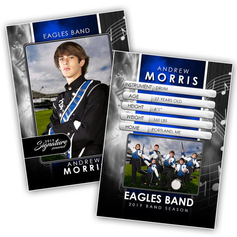 Signature Player - Band- V1 - Drop-In Trading Card Template-Photoshop Template - Photo Solutions
