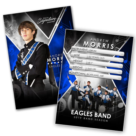 Signature Player - Band - V2 - Extraction Trading Card Template Photoshop Template -  PSMGraphix