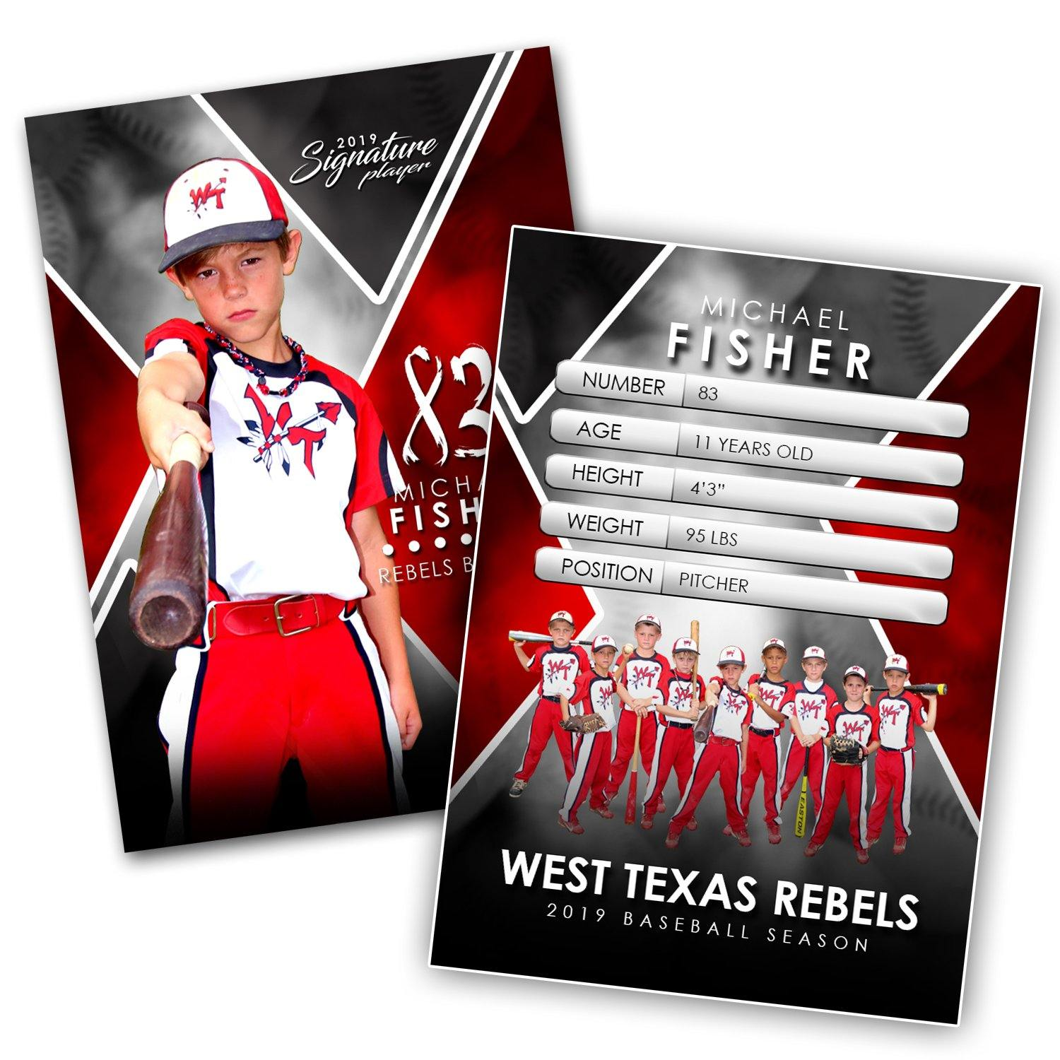 Signature Player - Baseball - V2 - Extraction Trading Card Template-Photoshop Template - Photo Solutions