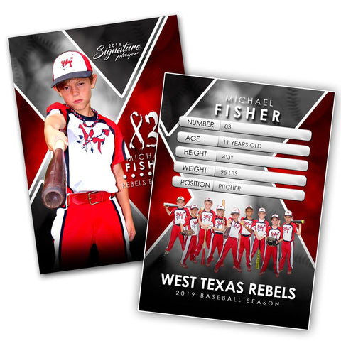 Signature Player - Baseball - V2 - Extraction Trading Card Template Downloadable Template Photo Solutions PSMGraphix