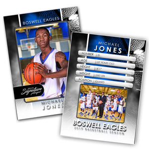 Signature Player - Basketball - V1 - Drop-In Trading Card Template Downloadable Template Photo Solutions PSMGraphix