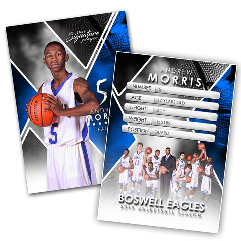 Signature Player - Basketball - V2 - Extraction Trading Card Template-Photoshop Template - Photo Solutions