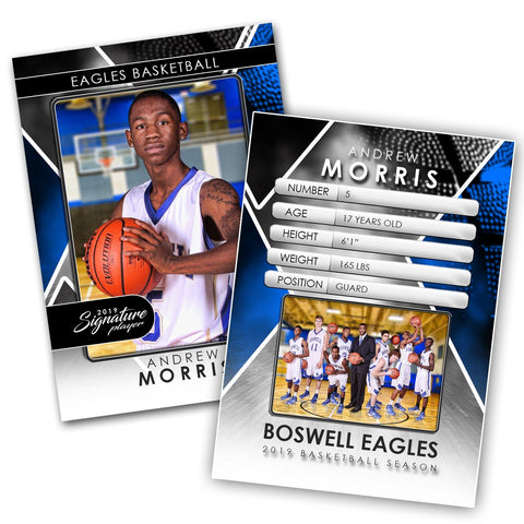 Signature Player - Basketball - V2 - Drop-In Trading Card Template-Photoshop Template - Photo Solutions