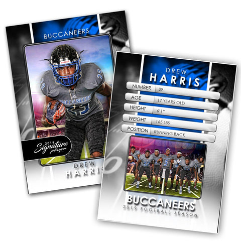 Signature Player - Football - V1 - Drop-In Trading Card Template-Photoshop Template - Photo Solutions