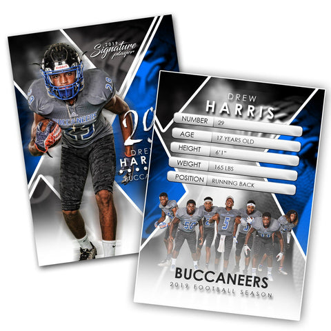 Signature Player - Football - V2 - Extraction Trading Card Template-Photoshop Template - Photo Solutions