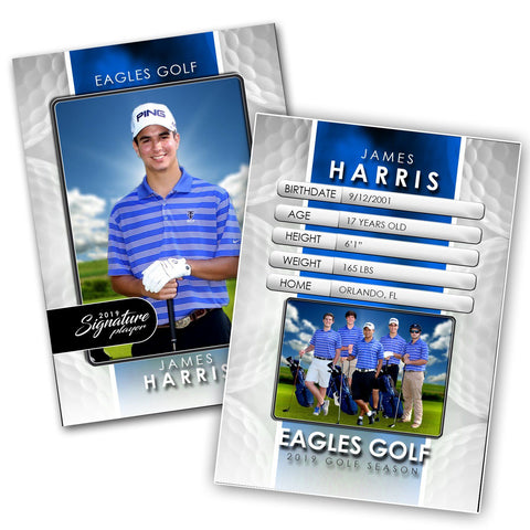 Signature Player - Golf - V1 - Drop-In Trading Card Template-Photoshop Template - Photo Solutions