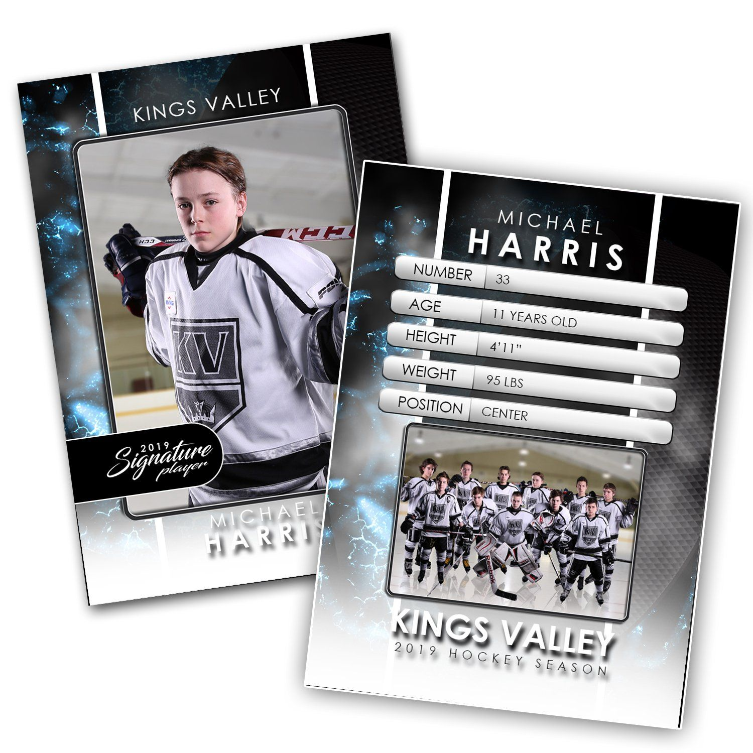 Signature Player - Hockey - V1 - Drop-In Trading Card Template-Photoshop Template - Photo Solutions