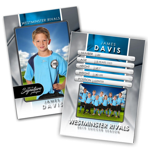 Signature Player - Soccer - V1 - Drop-In Trading Card Template-Photoshop Template - Photo Solutions