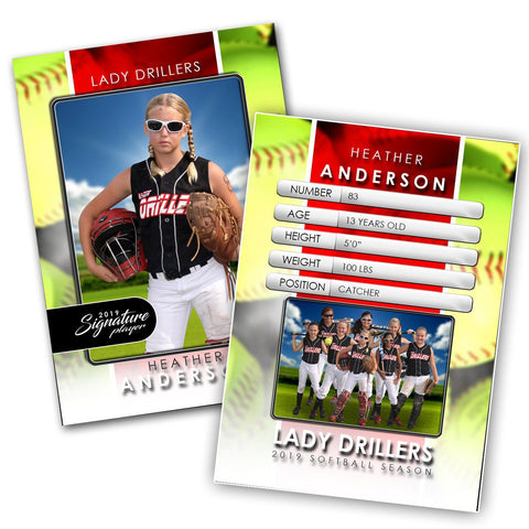 Signature Player - Softball - V1 - Drop-In Trading Card Template