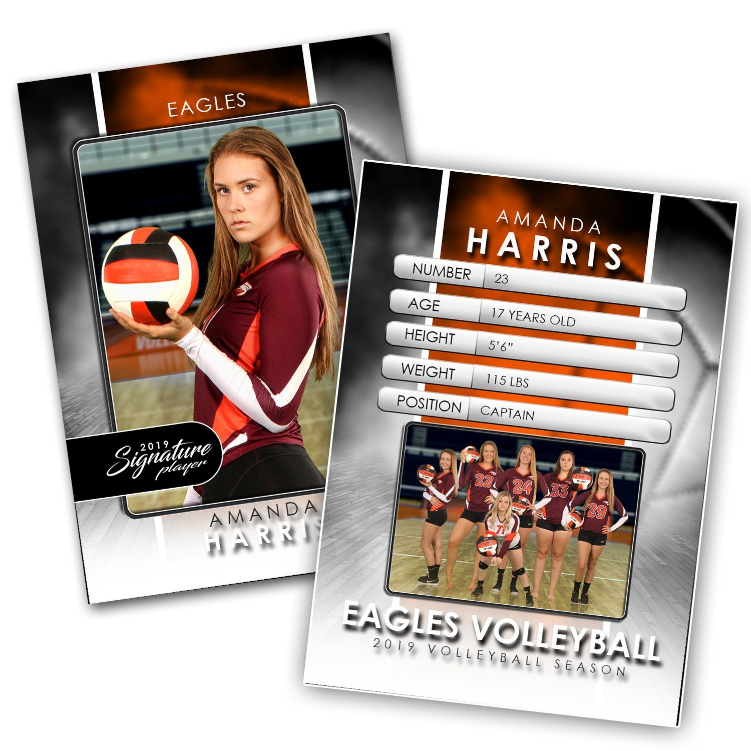 Signature Player - Volleyball - V1 - Drop-In Trading Card Template-Photoshop Template - Photo Solutions