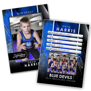 Signature Player - Wrestling - V1 - Drop-In Trading Card Template-Photoshop Template - Photo Solutions