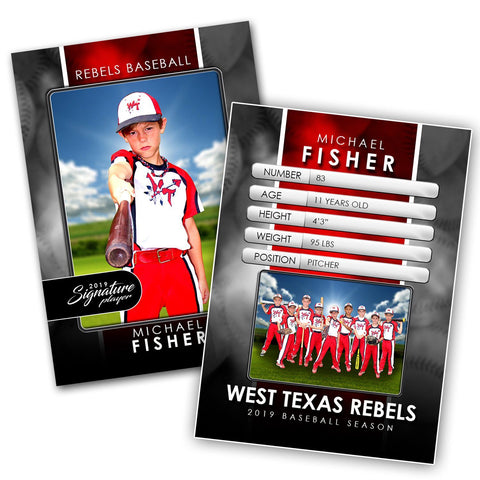 Signature Player - Baseball - V2 - Drop-In Trading Card Template Downloadable Template Photo Solutions PSMGraphix