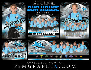 Our House - Soccer - FULL Collection -  Cinema Series - Game Time Collection-Photoshop Template - PSMGraphix