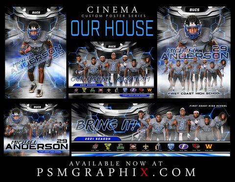 Our House - FULL Collection - Cinema Series - Game Time Collection-Photoshop Template - PSMGraphix