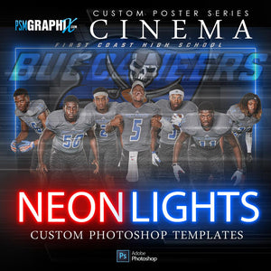 01 Neon Lights - Cinema Series FULL COLLECTION-Photoshop Template - PSMGraphix