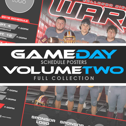 02 - Game Day Season Schedule Collection - Volume 2 Photoshop Template -  PSMGraphix