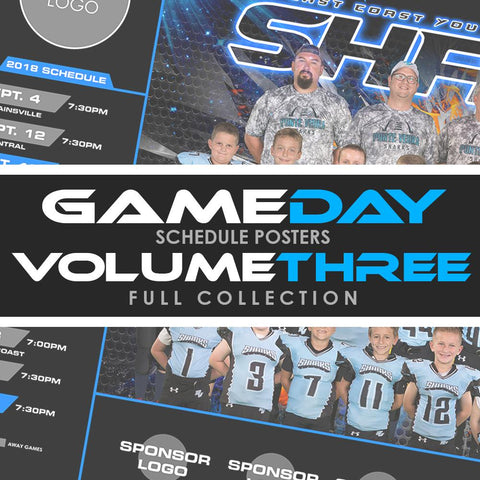 03 - Game Day Season Schedule Collection - Volume 3 Downloadable Template Photo Solutions PSMGraphix