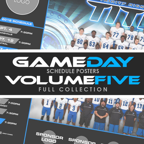 05 - Game Day Season Schedule Collection - Volume 5 Photoshop Template -  PSMGraphix