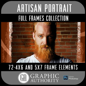 Artisan Portrait Collection - Full Set- 72 Frames-Photoshop Template - Graphic Authority