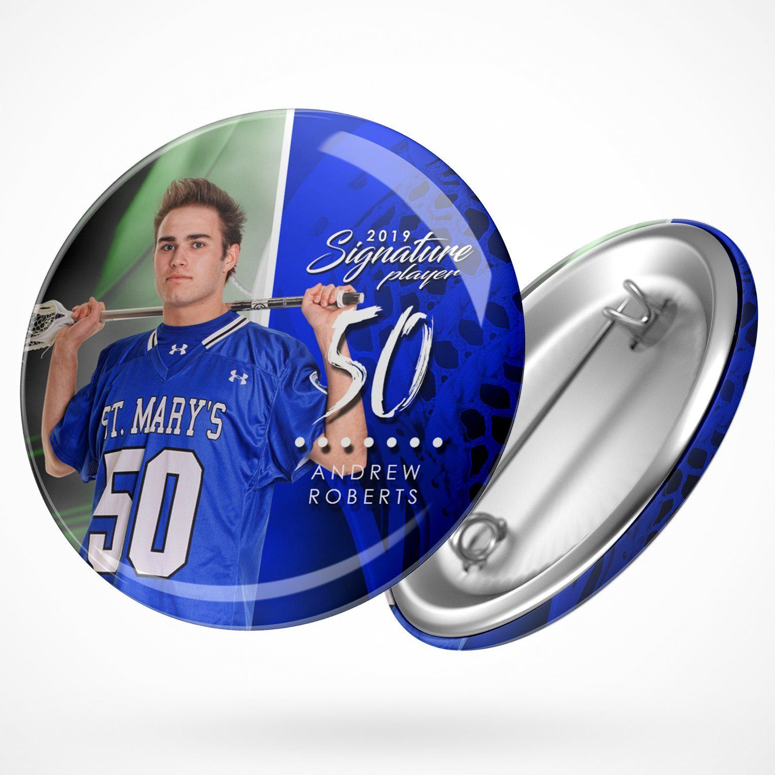 Signature Player - Lacrosse - V1 - Extraction Button Template-Photoshop Template - Photo Solutions