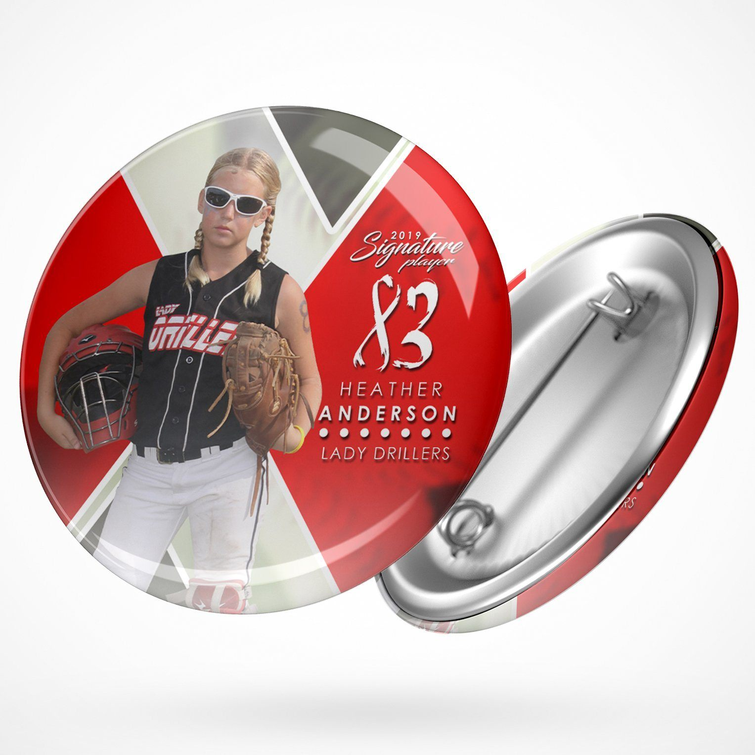 Signature Player - Softball - V2 - Extraction Button Template-Photoshop Template - Photo Solutions