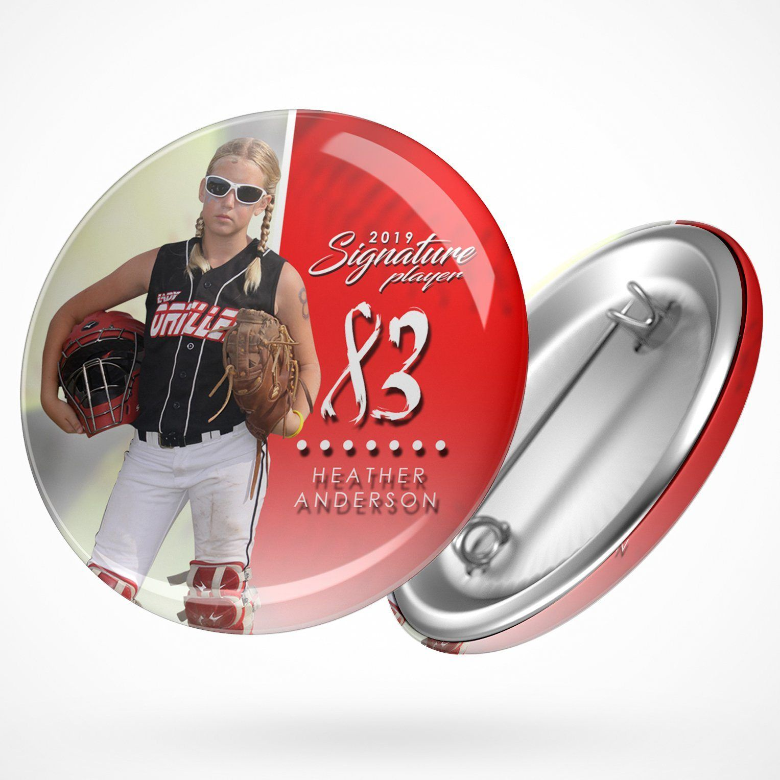 Signature Player - Softball - V1 - Extraction Button Template-Photoshop Template - Photo Solutions