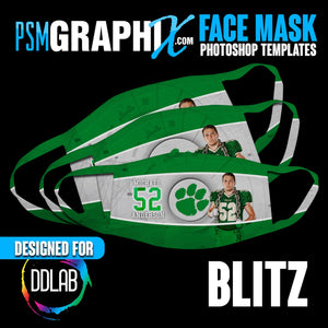 BLITZ - Face Mask Template Set (DDLAB) 3 Sizes-Photoshop Template - PSMGraphix