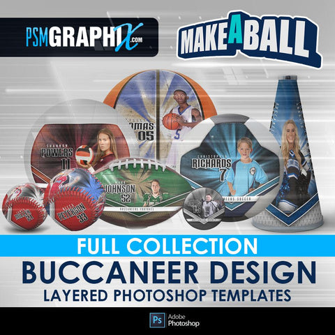 Buccaneer - V.1 - Make-A-Ball Full Template Collection-Photoshop Template - PSMGraphix