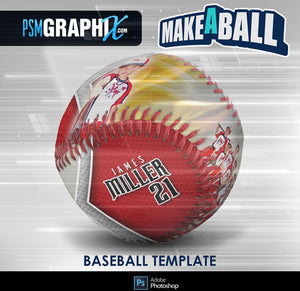 Burn - V.1 - Baseball - Make-A-Ball Photoshop Template-Photoshop Template - PSMGraphix