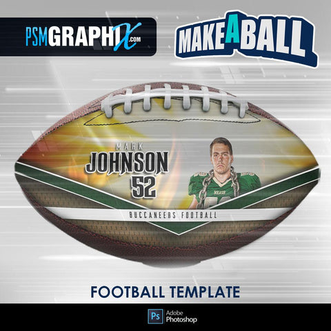 Burn - V.1 - Football (Full Size)  - Make-A-Ball Photoshop Template-Photoshop Template - PSMGraphix