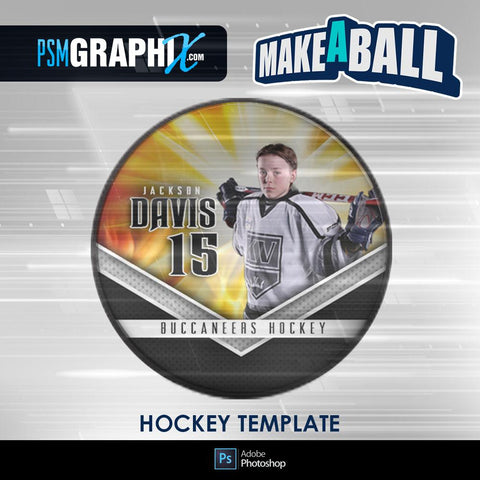 Burn - V.1 - Hockey Puck - Make-A-Ball Photoshop Template-Photoshop Template - PSMGraphix