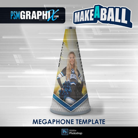 Burn - V.1 - Cheer Megaphone - Make-A-Ball Photoshop Template-Photoshop Template - PSMGraphix