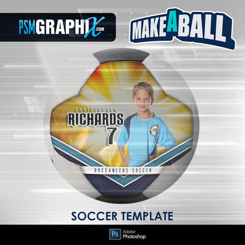 Burn - V.1 - Soccer Ball (Full Size)  - Make-A-Ball Photoshop Template-Photoshop Template - PSMGraphix