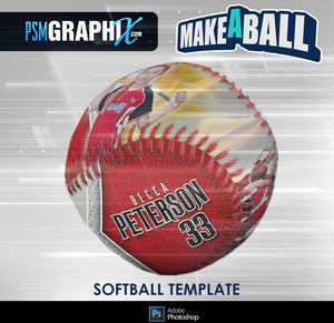 Burn - V.1 - Softball - Make-A-Ball Photoshop Template-Photoshop Template - PSMGraphix