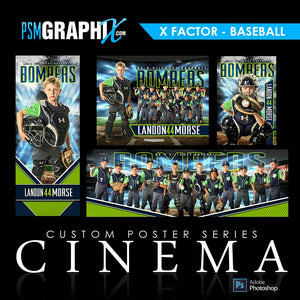 01 - Full Set - X-Factor - Baseball / Softball Collection-Photoshop Template - PSMGraphix