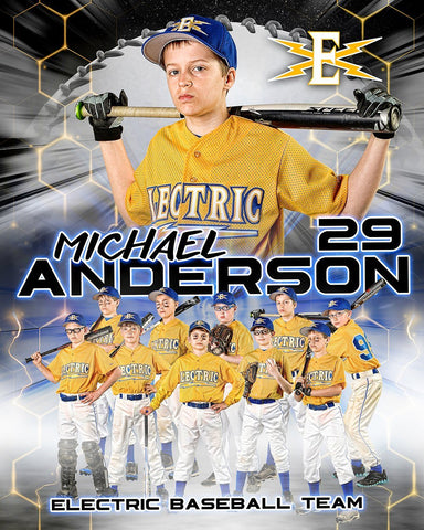 "Our House -Baseball - Cinema Series ""Game Time Edition"" - T&I Poster/Banner Vertical-Photoshop Template - PSMGraphix"