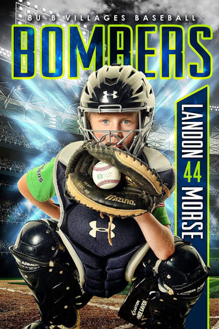 X Factor Baseball/Softball - Cinema Series - Poster/Banner Template-Photoshop Template - PSMGraphix